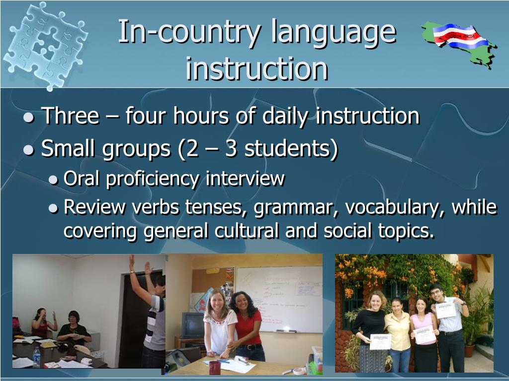 In-country language instruction
