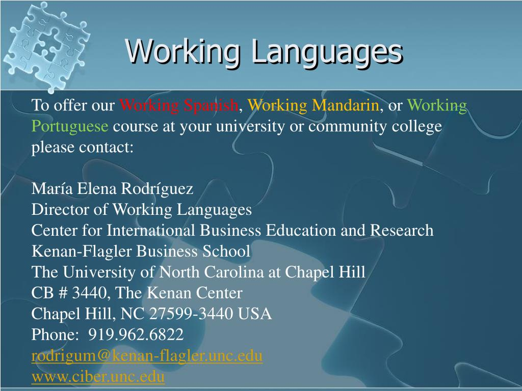 Working Languages