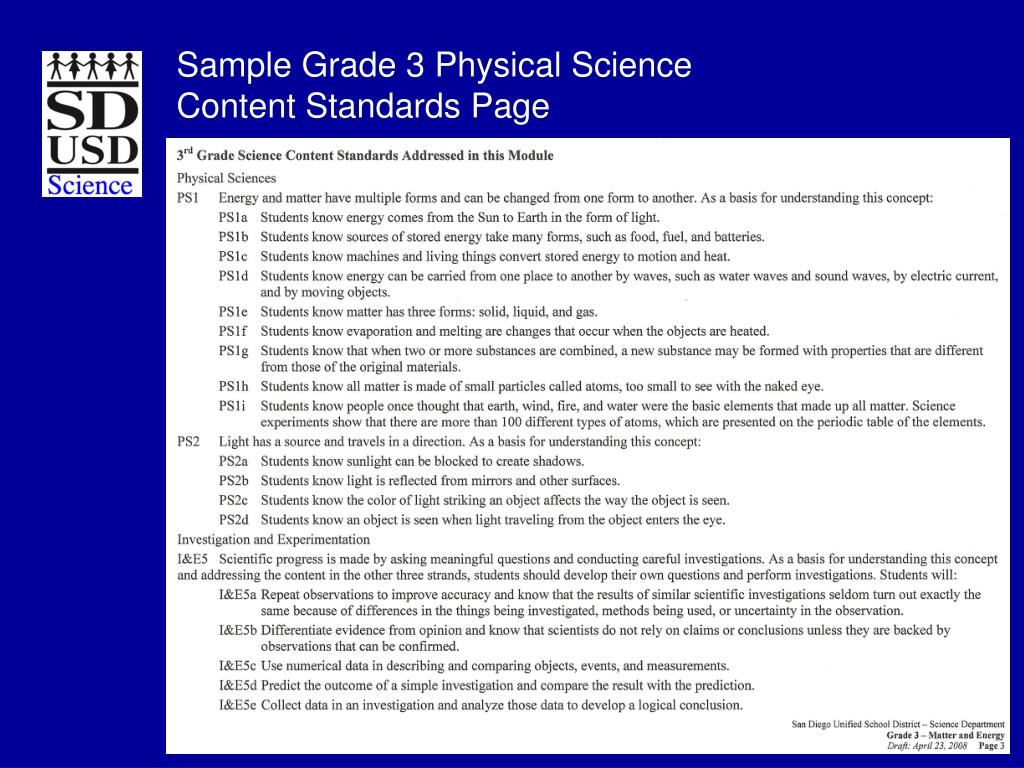 Sample Grade 3 Physical Science