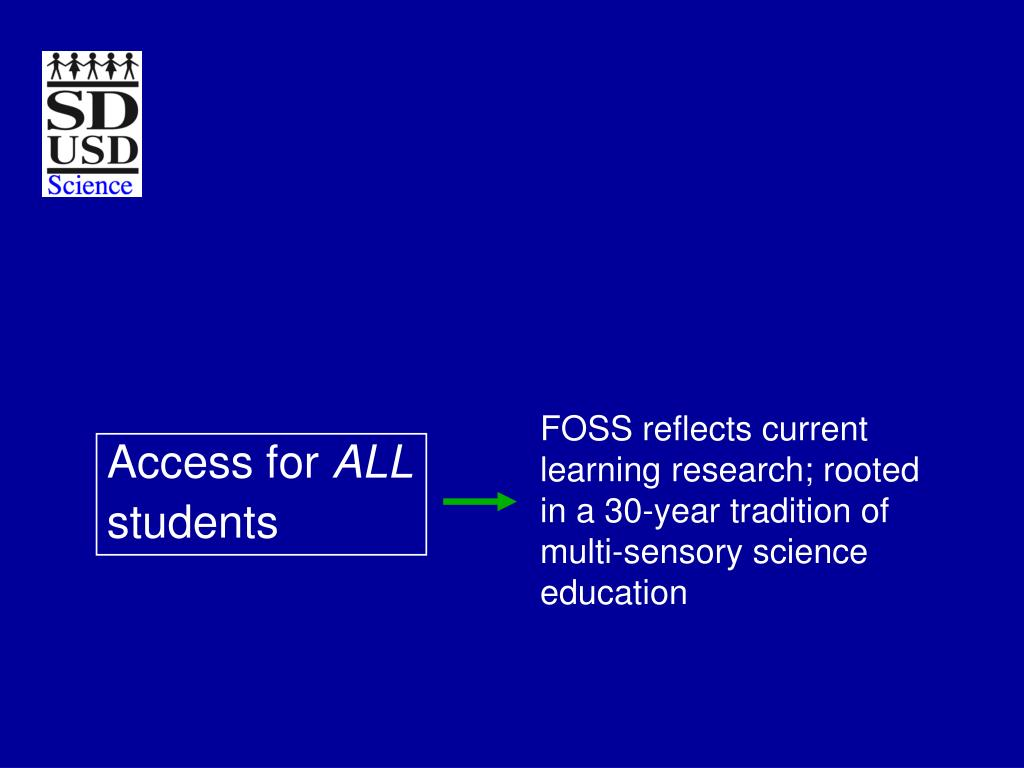FOSS reflects current learning research; rooted in a 30-year tradition of multi-sensory science education