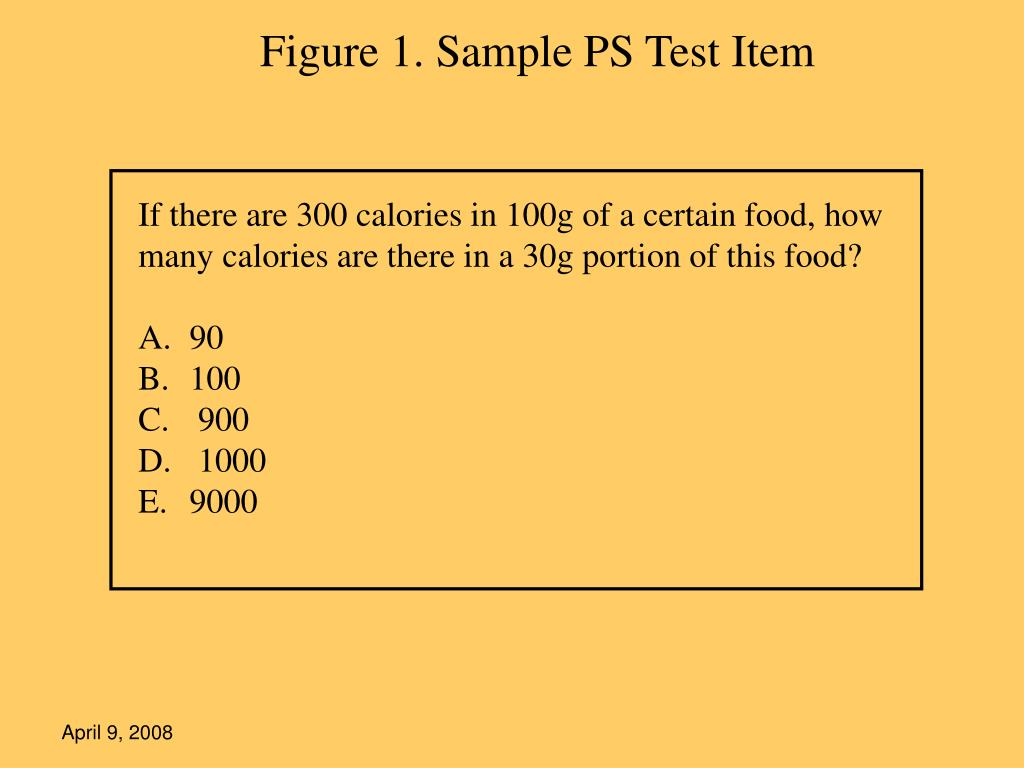 Figure 1. Sample PS Test Item