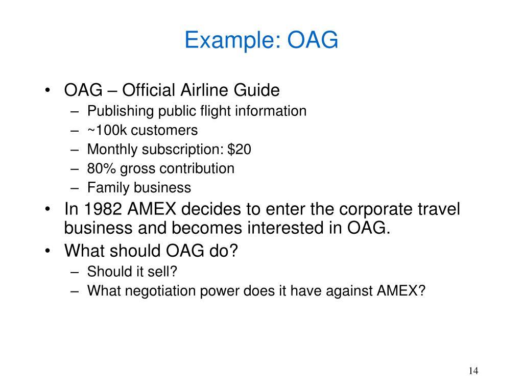 Example: OAG