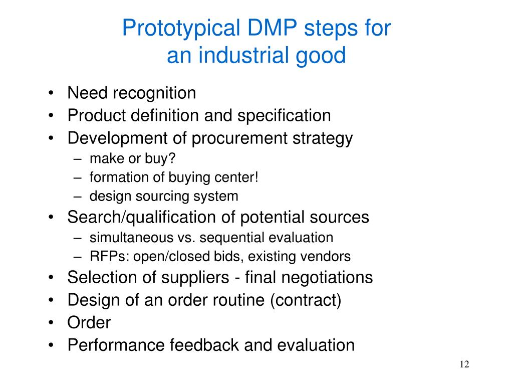Prototypical DMP steps for
