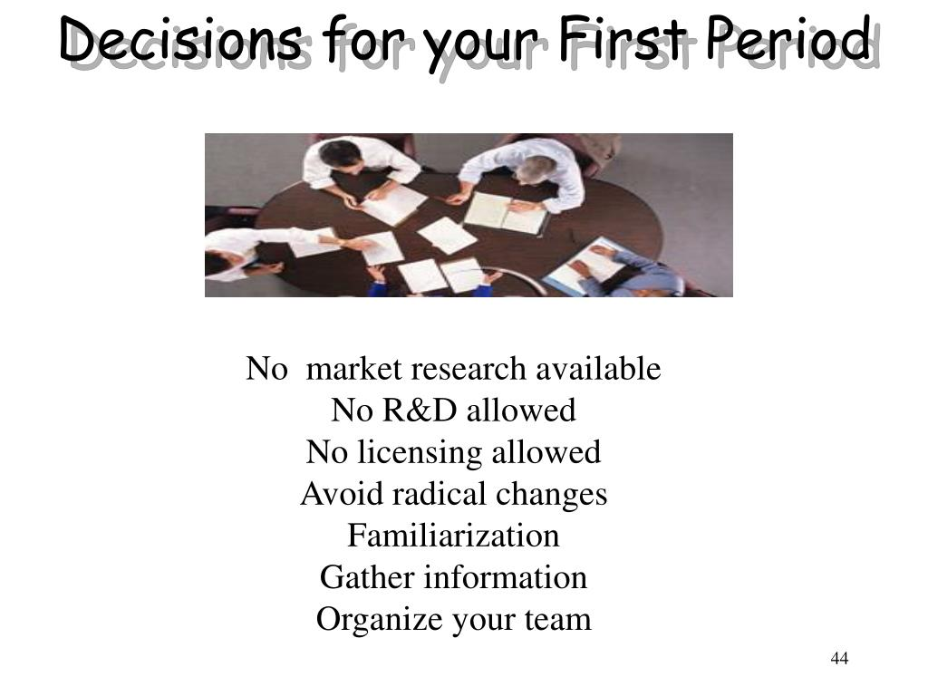 Decisions for your First Period