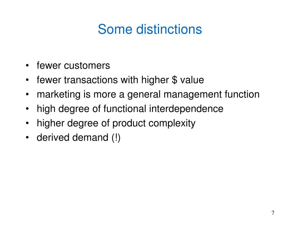 Some distinctions