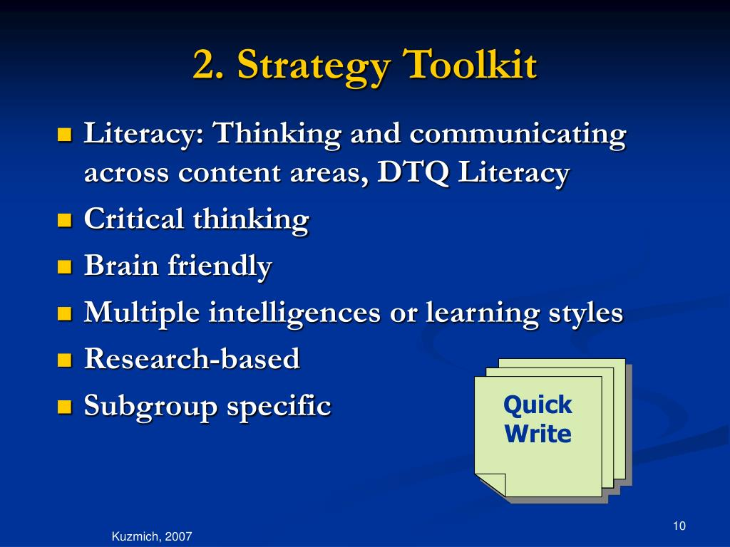 2. Strategy Toolkit
