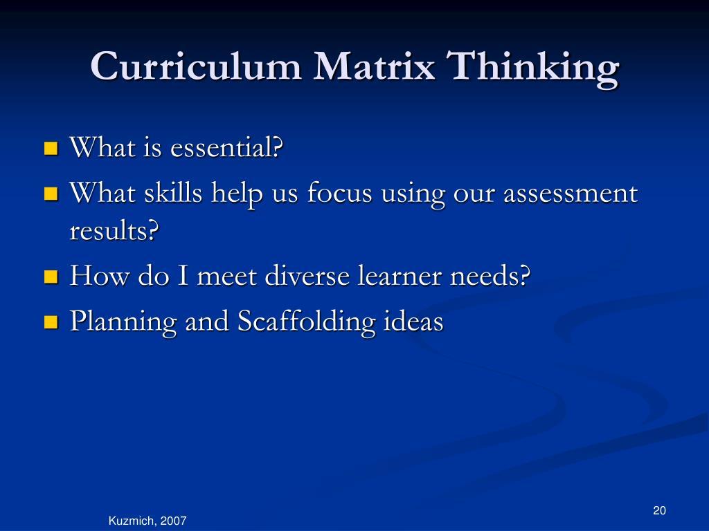 Curriculum Matrix Thinking