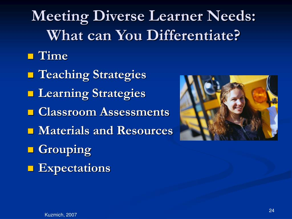 Meeting Diverse Learner Needs: What can You Differentiate?