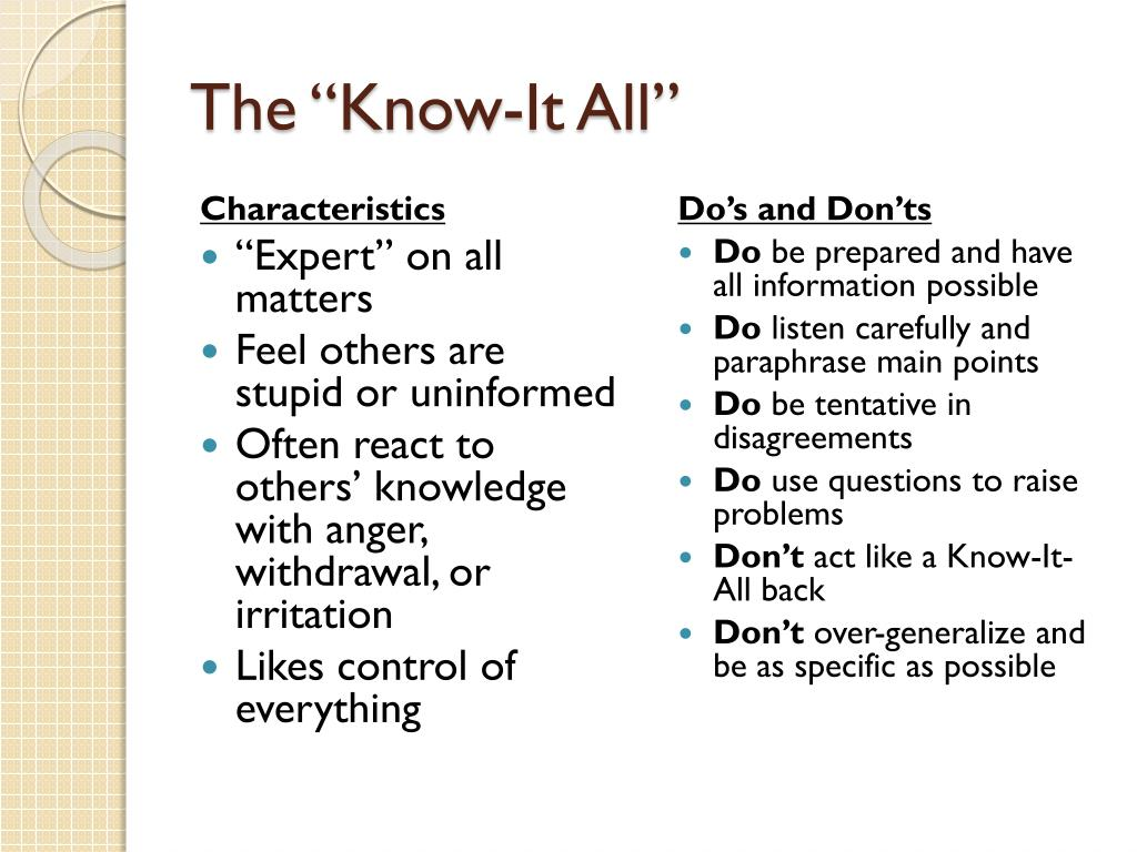 "The ""Know-It All"""