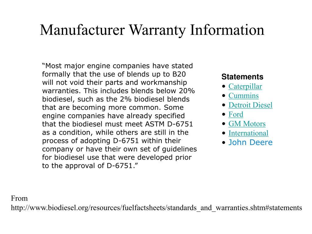 Manufacturer Warranty Information