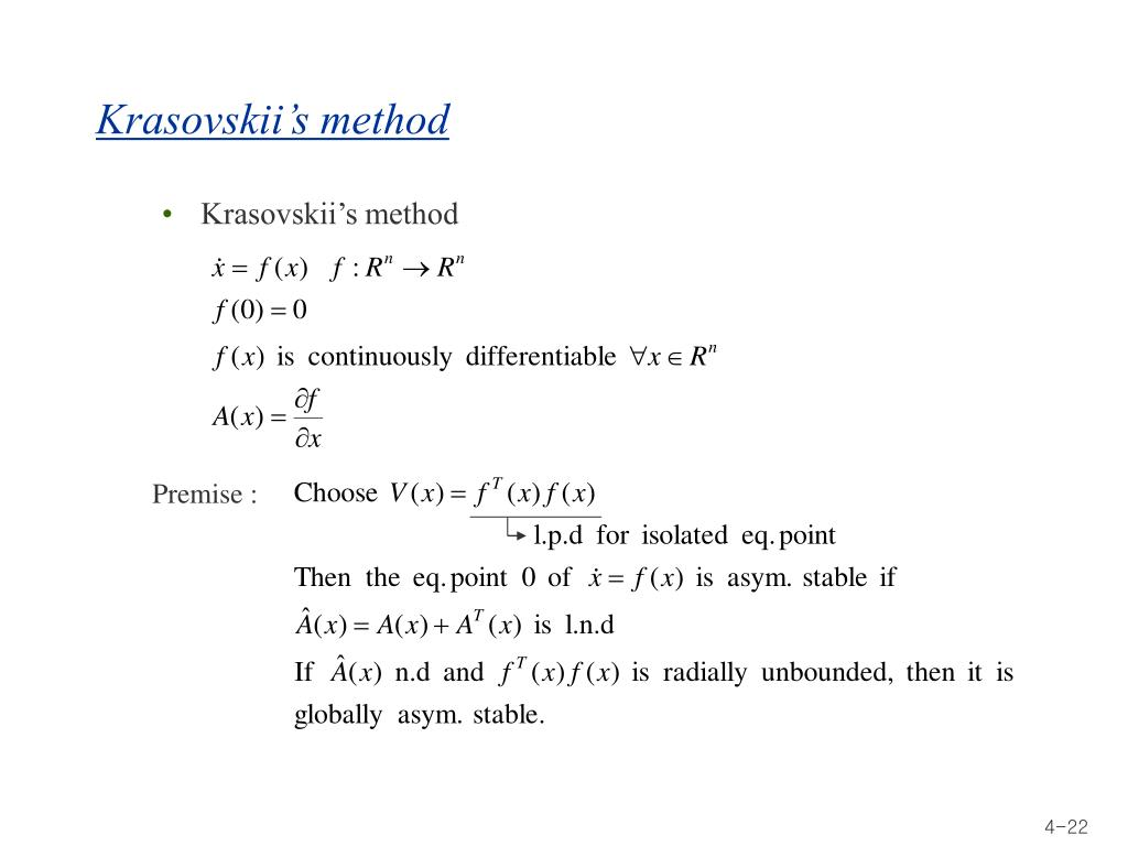Krasovskii's method