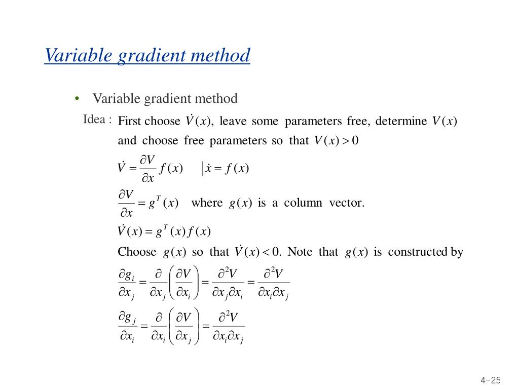 Variable gradient method