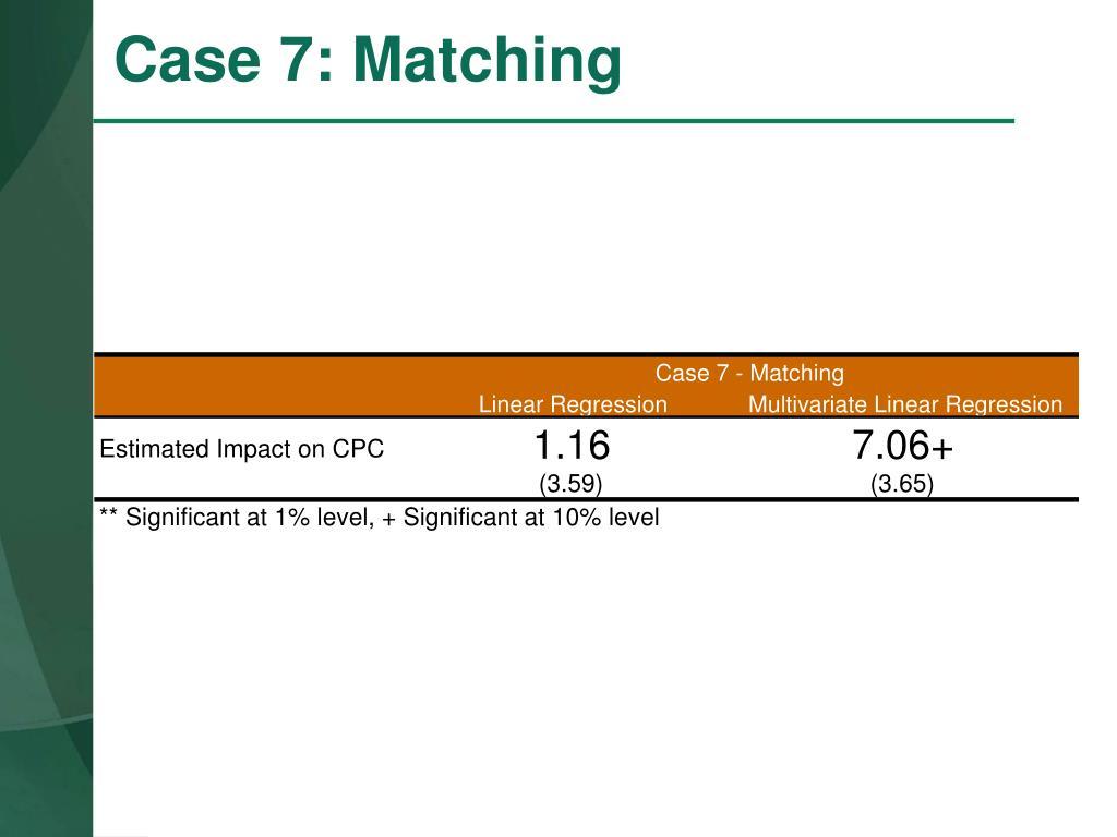 Case 7 - Matching