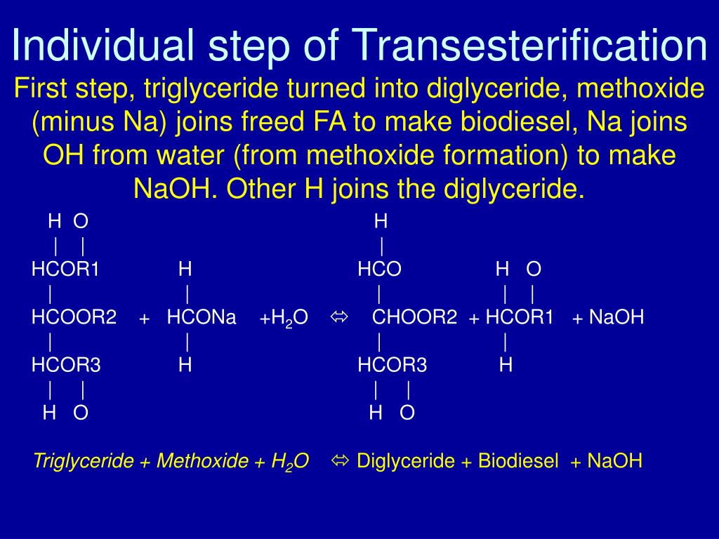 Individual step of Transesterification