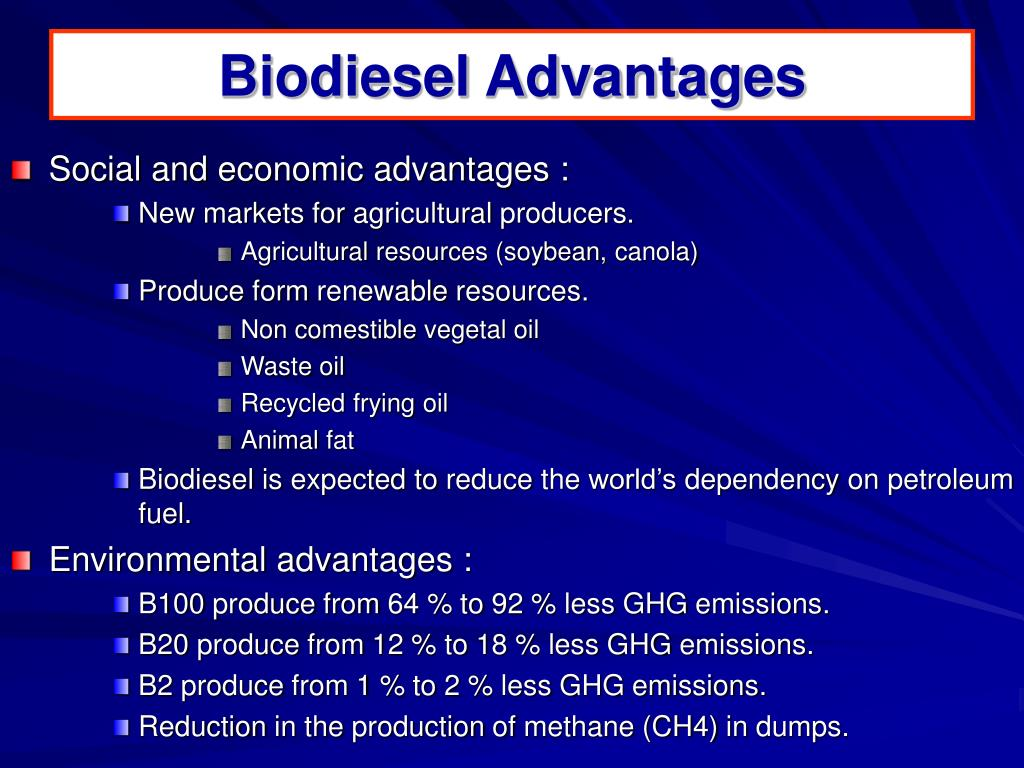 Biodiesel Advantages