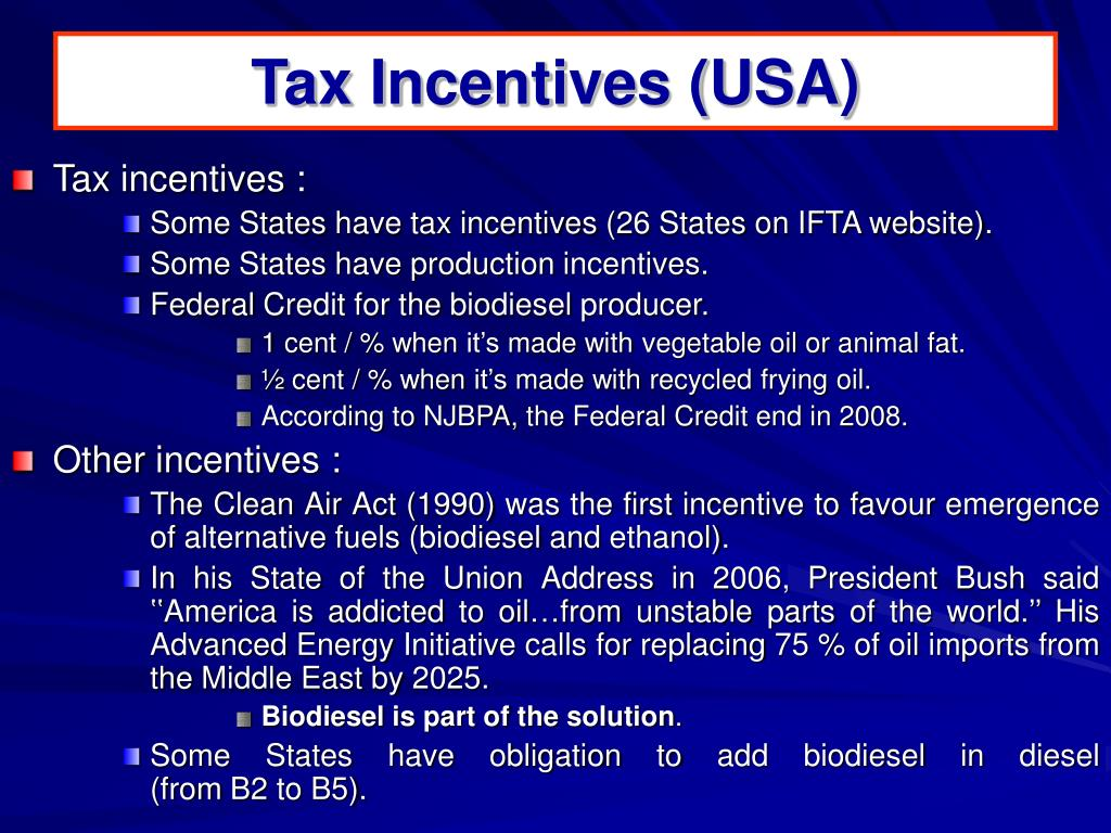 Tax Incentives (USA)