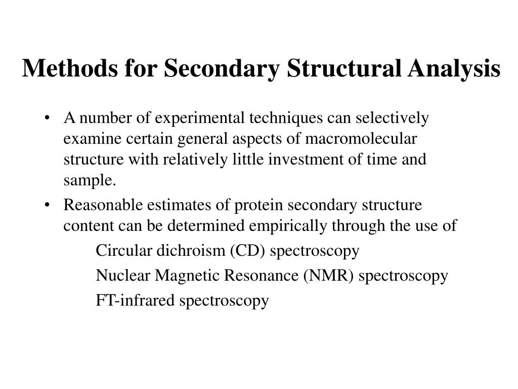 Methods for Secondary Structural Analysis