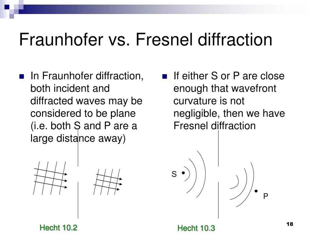 In Fraunhofer diffraction, both incident and diffracted waves may be considered to be plane (i.e. both S and P are a large distance away)