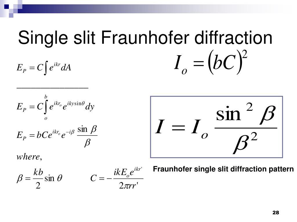 Single slit Fraunhofer diffraction