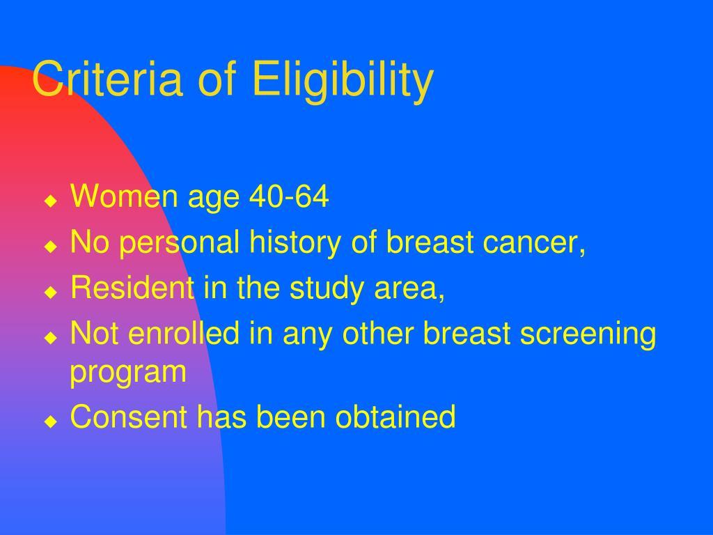Criteria of Eligibility