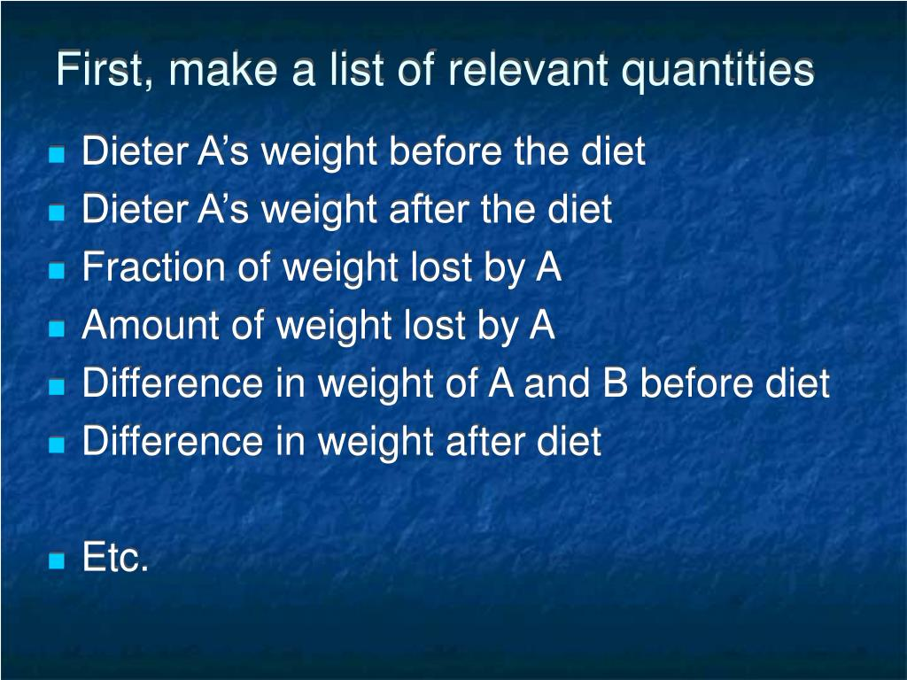 First, make a list of relevant quantities