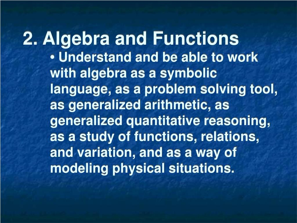 2. Algebra and Functions
