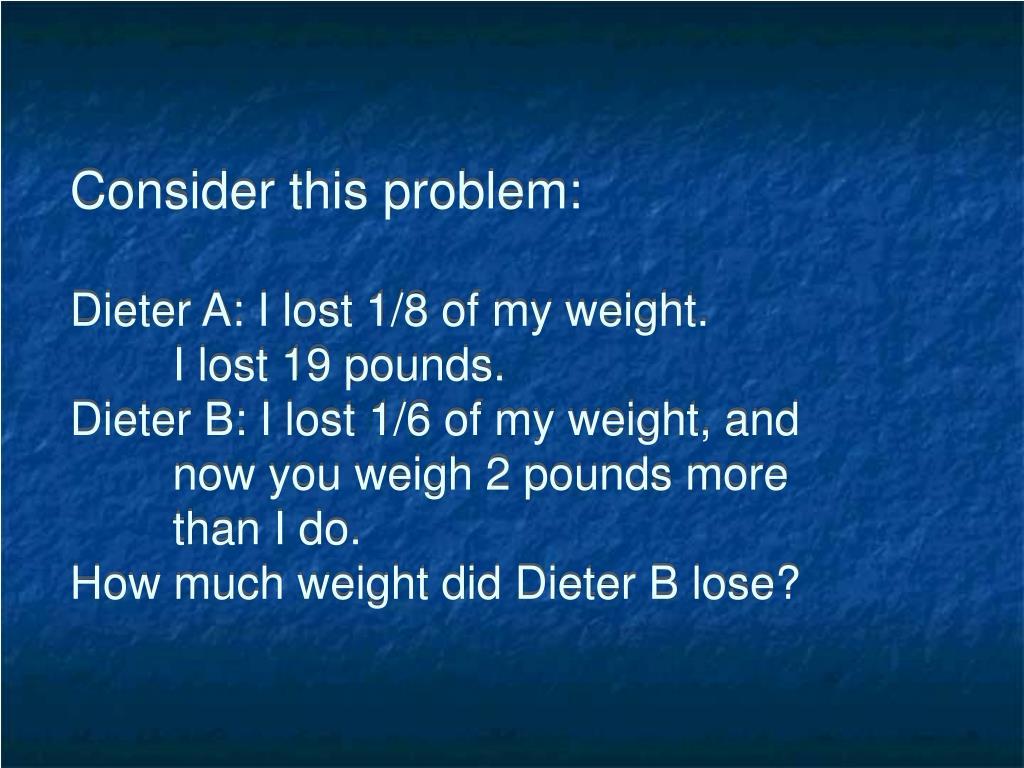 Consider this problem: