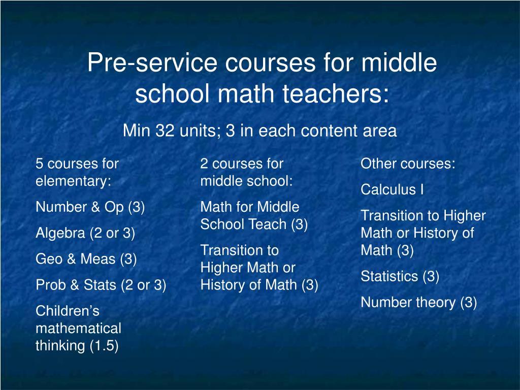 Pre-service courses for middle school math teachers: