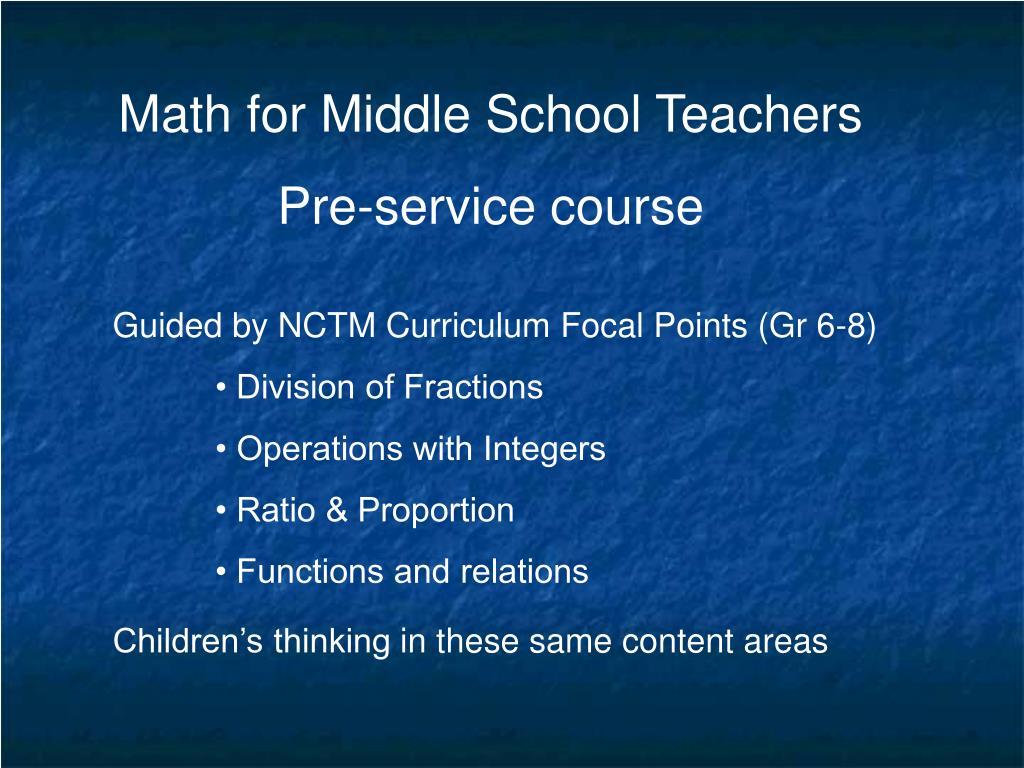 Math for Middle School Teachers