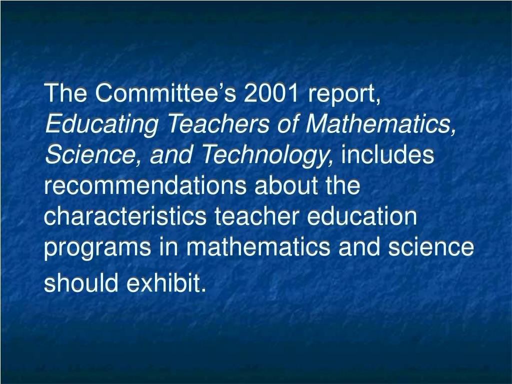 The Committee's 2001 report,
