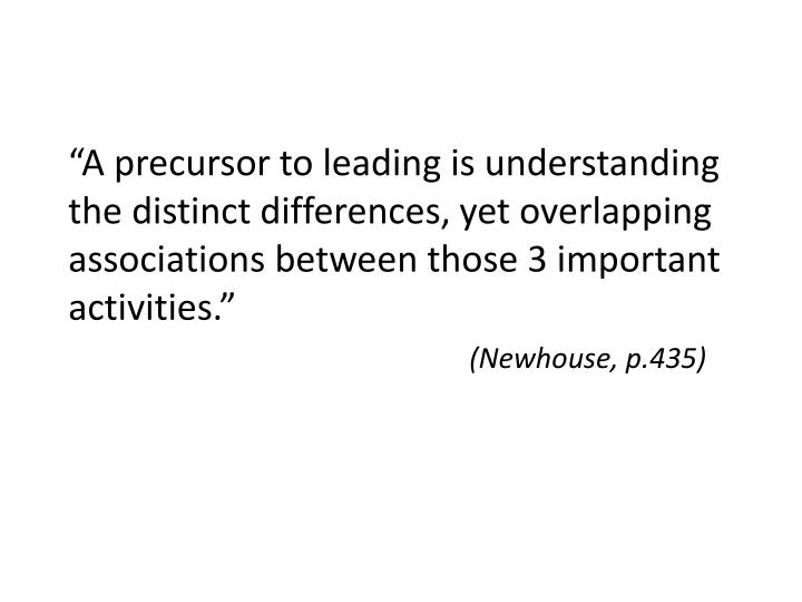 """A precursor to leading is understanding the distinct differences, yet overlapping associations be..."