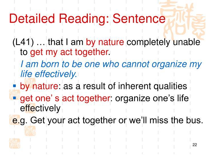 Detailed Reading: Sentence