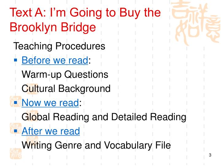 Text A: I'm Going to Buy the Brooklyn Bridge