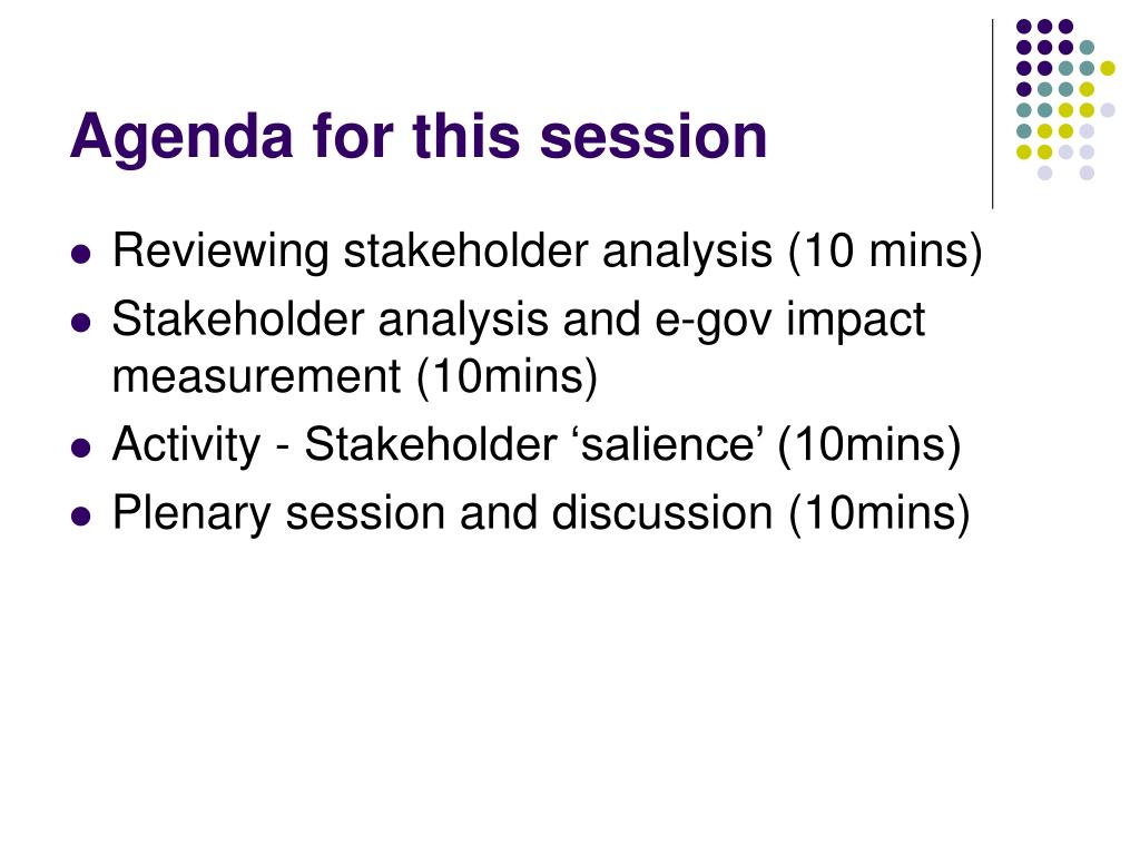Agenda for this session