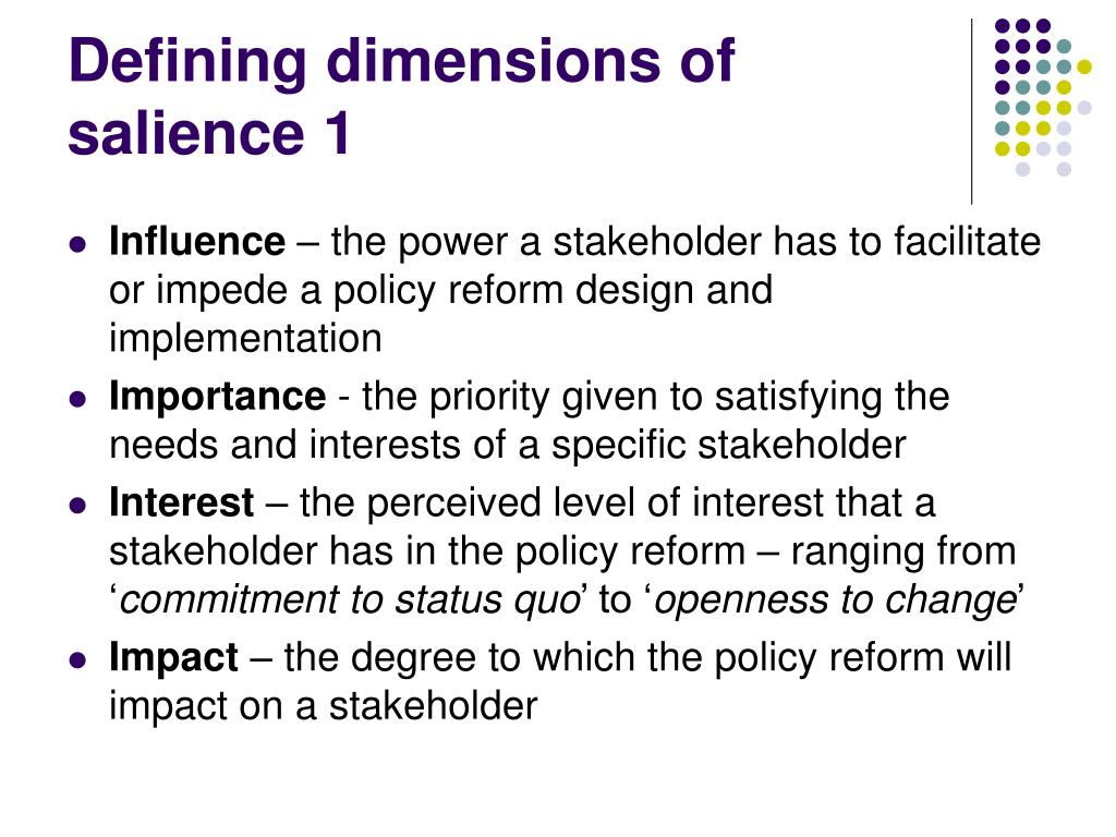 Defining dimensions of salience 1