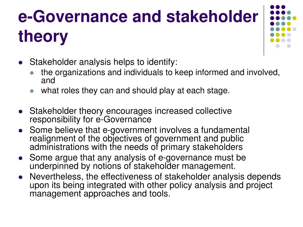 e-Governance and stakeholder theory