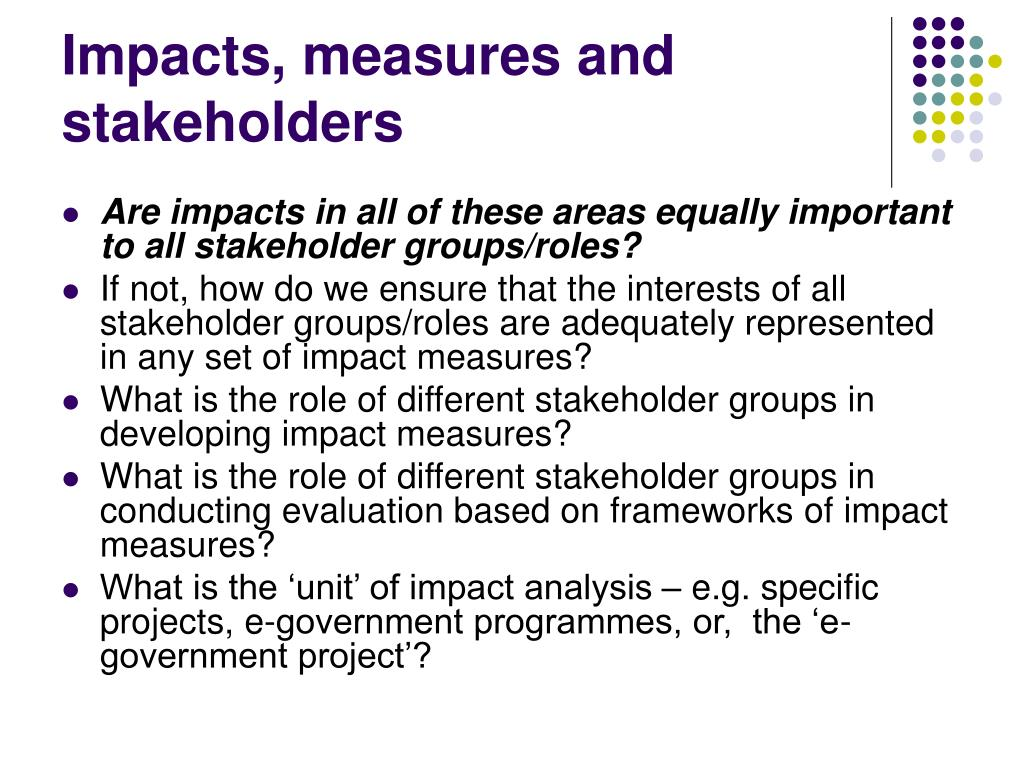 Impacts, measures and stakeholders
