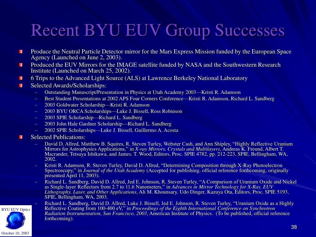 BYU EUV Optics