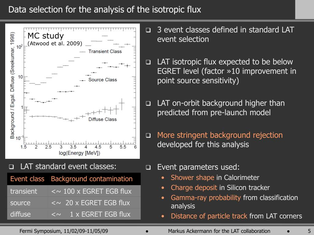 Data selection for the analysis of the isotropic flux