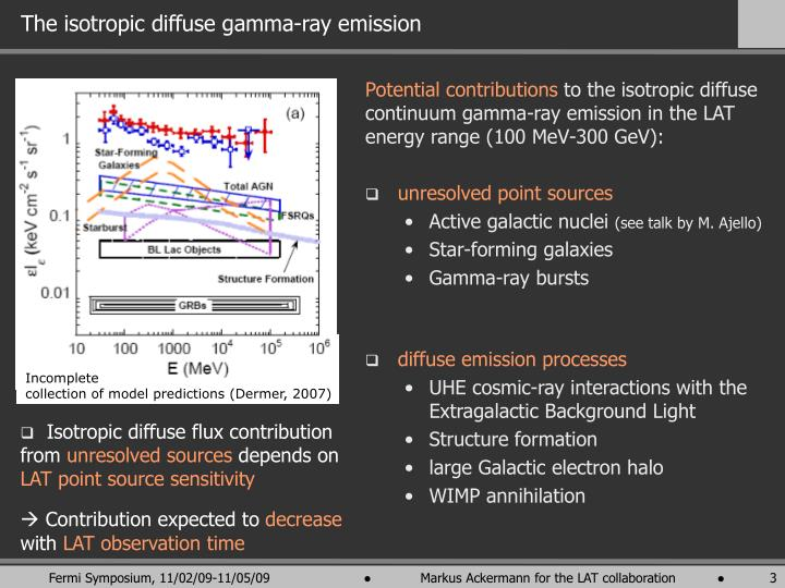 The isotropic diffuse gamma ray emission