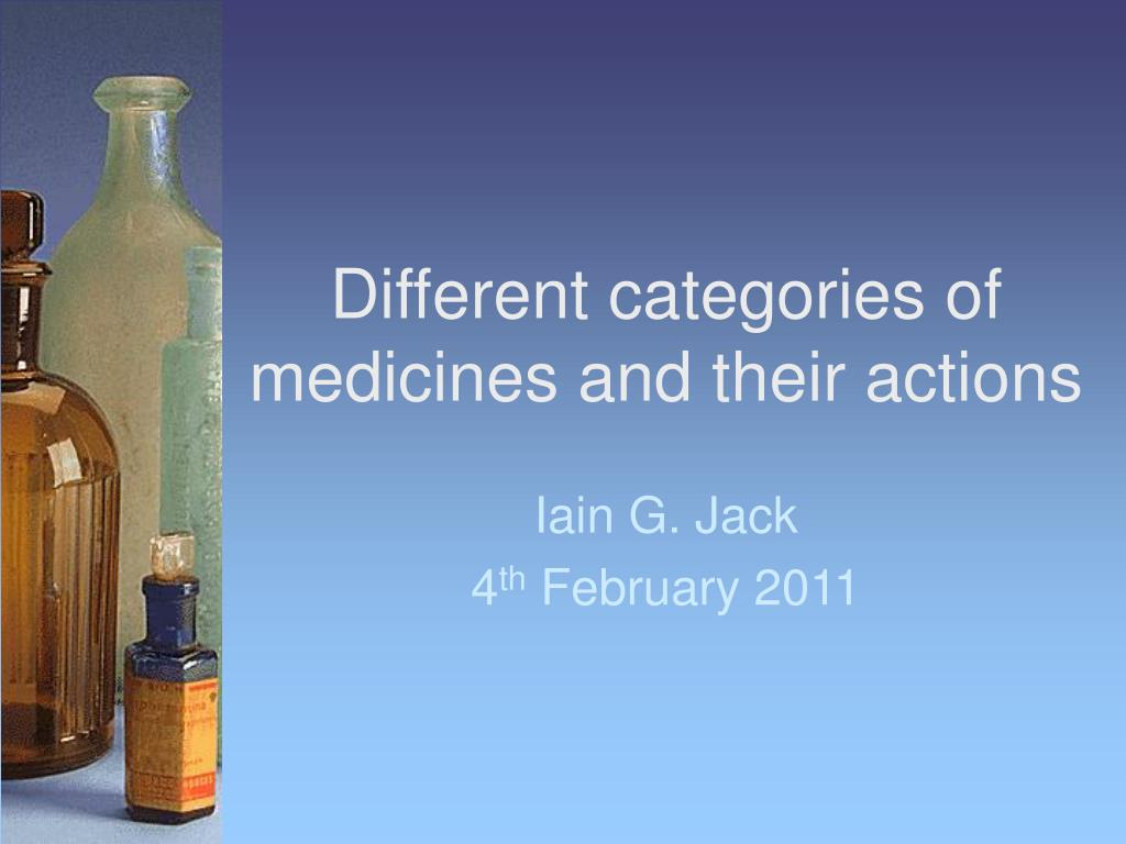 Different categories of medicines and their actions