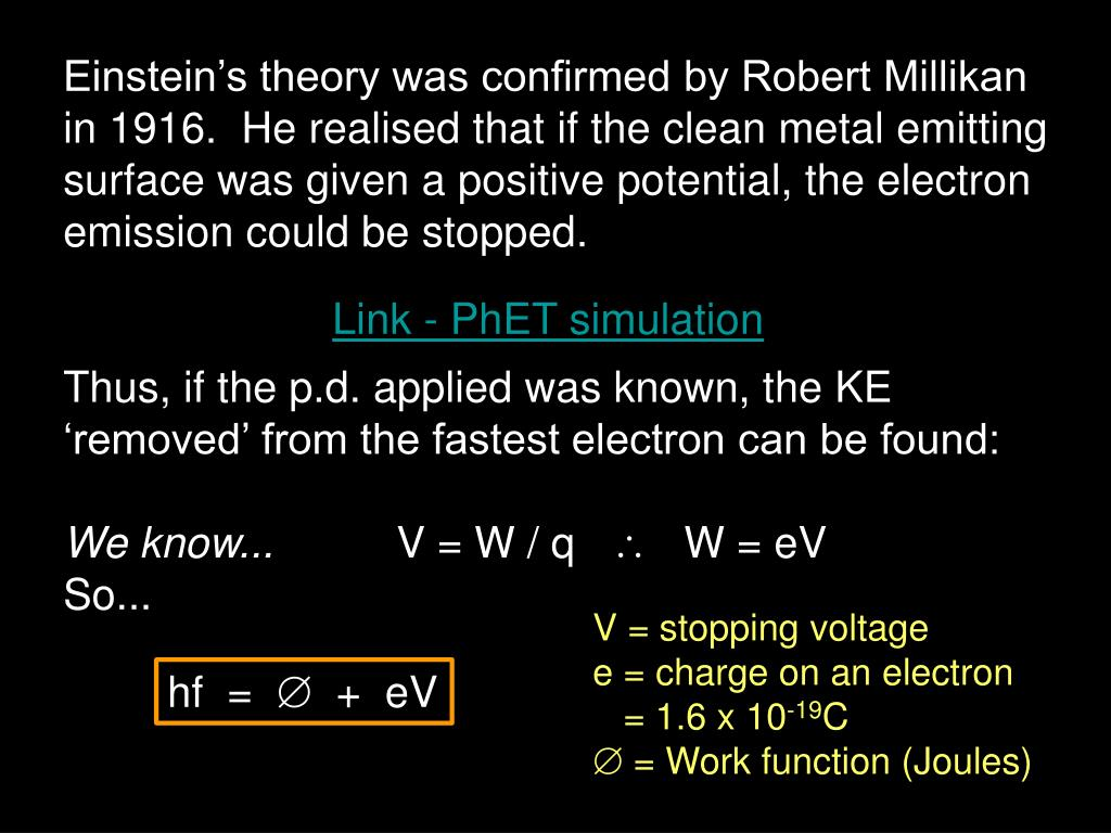 Einstein's theory was confirmed by Robert Millikan in 1916.  He realised that if the clean metal emitting surface was given a positive potential, the electron emission could be stopped.