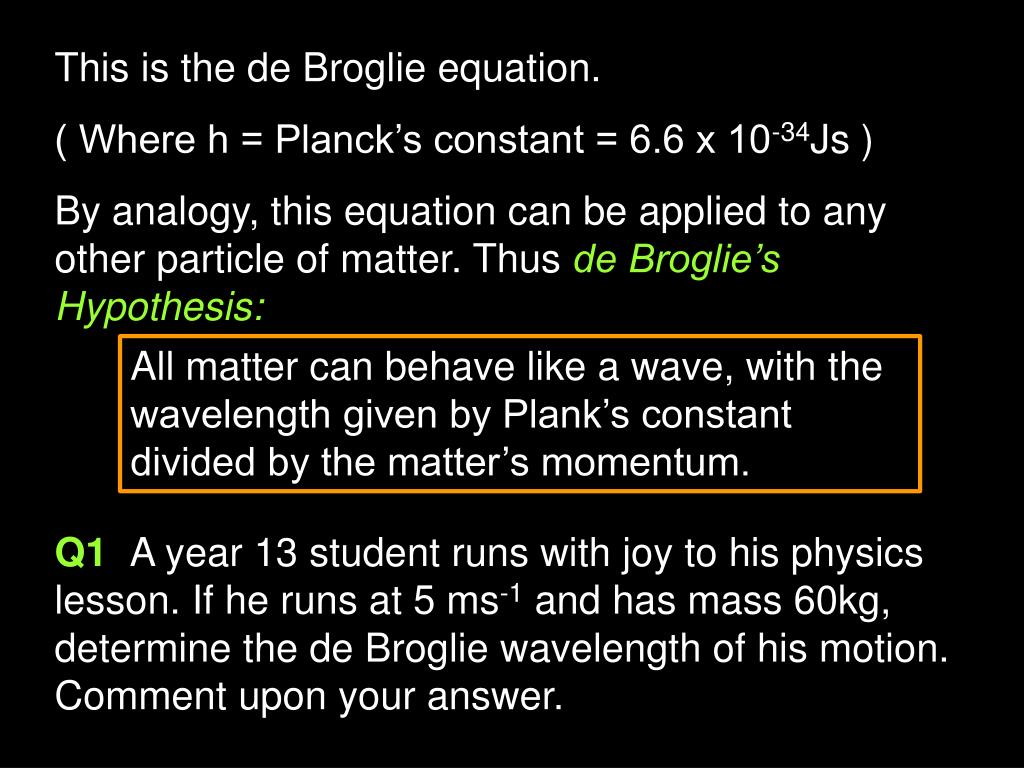 This is the de Broglie equation.