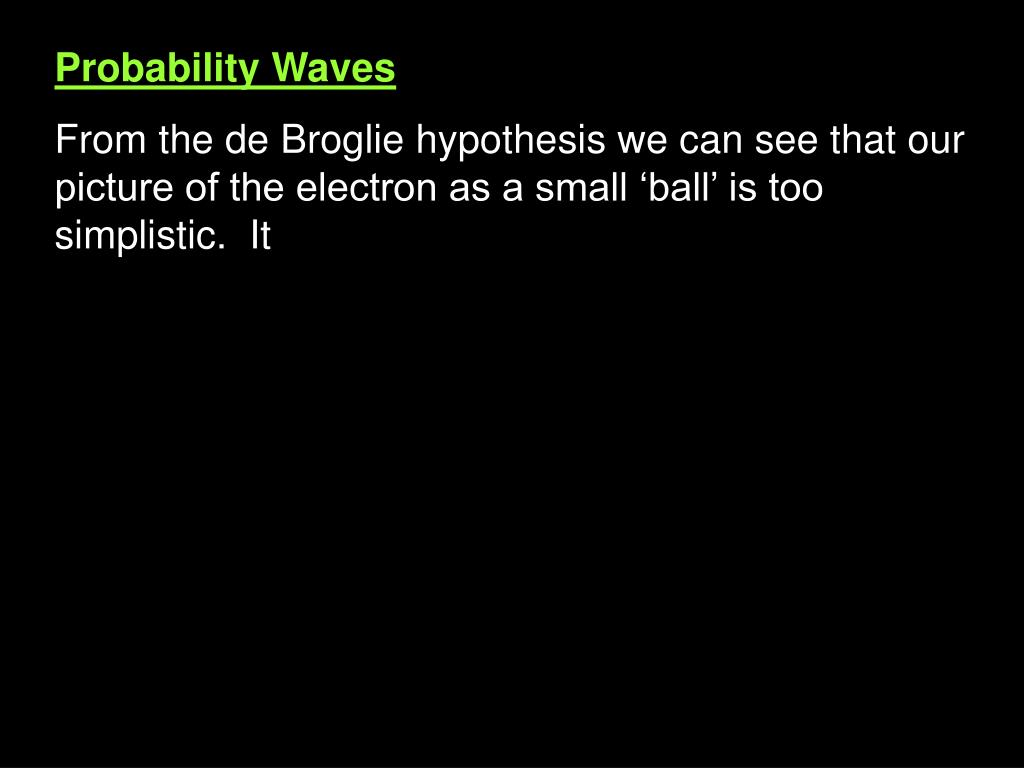 Probability Waves