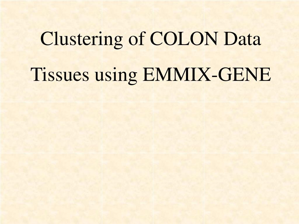 Clustering of COLON Data