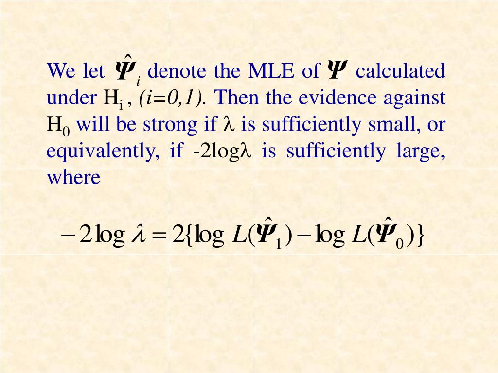 We let      denote the MLE of     calculated under