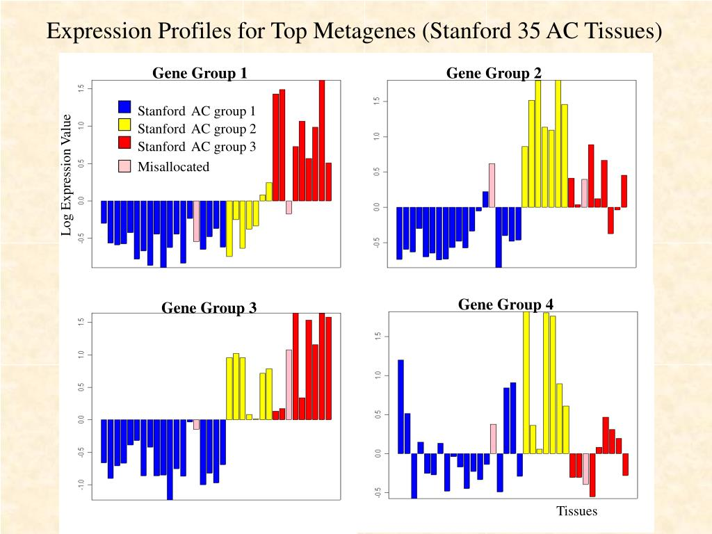 Expression Profiles for Top Metagenes (Stanford 35 AC Tissues)