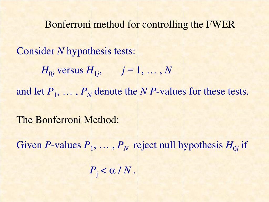 Bonferroni method for controlling the FWER