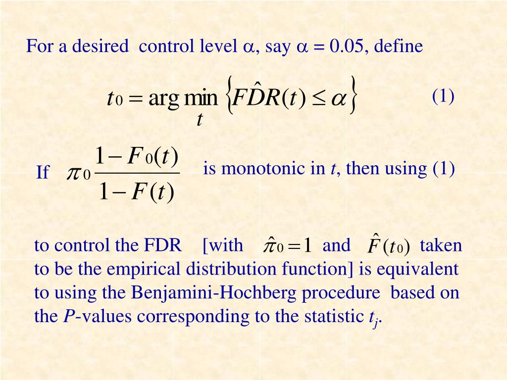For a desired  control level
