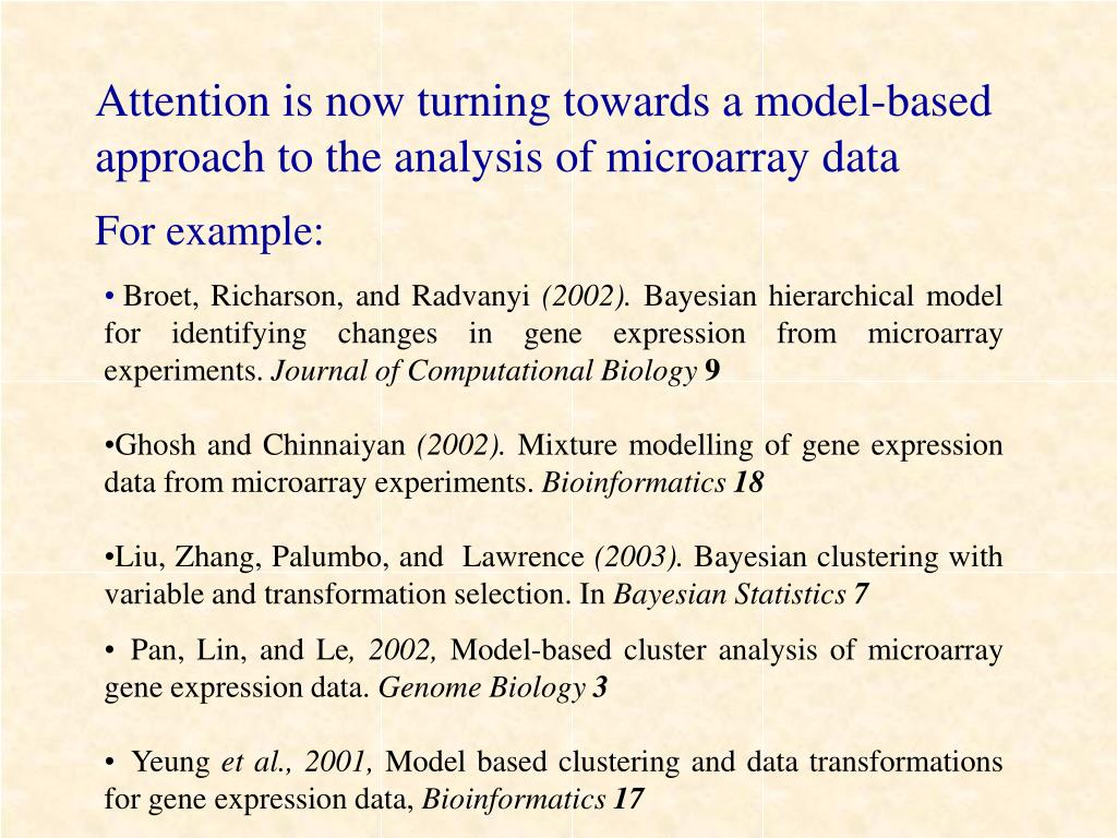 Attention is now turning towards a model-based approach to the analysis of microarray data